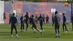 آخرین تمرینات بارسلونا قبل از دیدار با اینتر