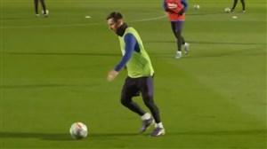 پاس های فوق العاده مسی در تمرینات بارسلونا