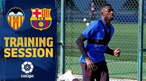 تمرینات آماده سازی بازیکنان بارسلونا برای دیدار با والنسیا