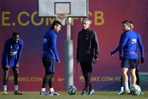 تمرینات تیم بارسلونا قبل از دیدار برابر بیلبائو