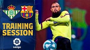 تمرینات بارسلونا برای آماده سازی بازی با بتیس