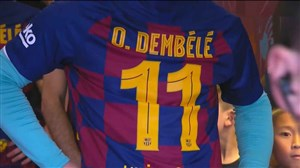 ورود بازیکنان بارسلونا با لباس عثمان دمبله برای حمایت از او