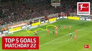5 گل برتر هفته بیست و دوم بوندسلیگا