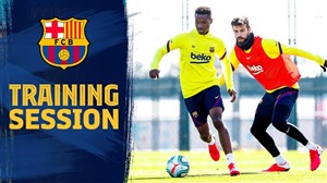 تمرین کنترل توپ بازیکنان بارسلونا