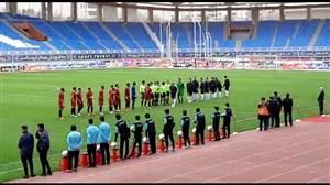 مراسم آغاز بازی شهرخودرو و نفت مسجدسلیمان بدون دست دادن