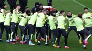 تمرینات منچسترسیتی قبل از بازی با رئال مادرید