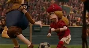 سکانسی از انیمیشن فوتبالی جالب انسان های نخستین