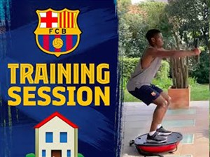تمرینات خانگی آنسو فاتی ستاره تیم بارسلونا