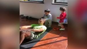 تمرینات رونالدو با کمک فرزندانش
