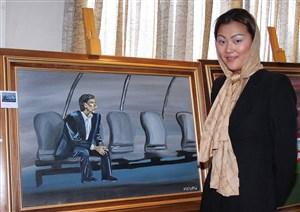 تابلوی ناصر حجازی به قلم یک نقاش کرهای