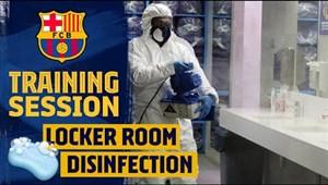تمرینات تیم بارسلونا و ضدعفونیکردن محل تمرین