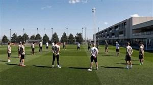 تمرینات فیزیکی و کار با توپ در سومین تمرین رئال مادرید