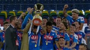 شادی بازیکنان ناپولی پس از قهرمانی در کوپا ایتالیا