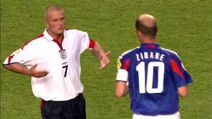 تقابل خاطره انگیز زیدان و بکهام در یورو 2004