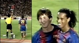 اولین بازی رسمی لیونل مسی و رونالدینیو کنار یکدیگر