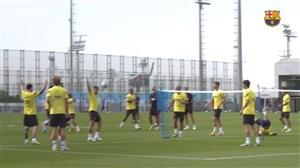 اولین تمرین بارسلونا برای دیدار مقابل اوساسونا