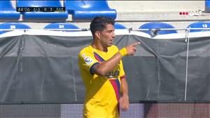 گل سوم بارسلونا به آلاوس توسط سوارز
