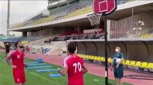 چالش بسکتبال در تمرین پرسپولیس