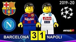 شبیه سازی دیدار بارسلونا - ناپولی با عروسک لگو
