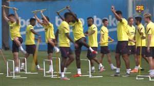 آمادهسازی بدنی بازیکنان بارسلونا برای دیدار برابر بایرنمونیخ