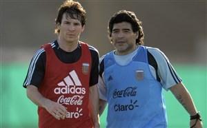 همبازی شدن مسی و مارادونا در دیدار دوستانه