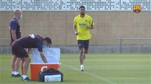 تمرینات امروز بارسلونا با حضور مسی و سوارز