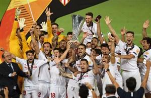 جشن قهرمانی تیم سویا در لیگ اروپا 2020