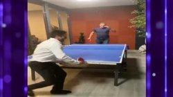 رقابت جذاب علی دایی و حمید سوریان در بازی تنیس روی میز