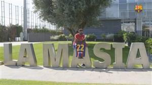 آنسو فاتی با شماره جدید در تمرینات بارسلونا