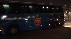 خروج اتوبوس پرسپولیس از استادیوم جاسم بنحمد