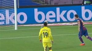 گل سوم بارسلونا به ویارئال توسط مسی (پنالتی)