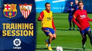 آخرین تمرینات بارسلونا پیش از دیدار با سویا