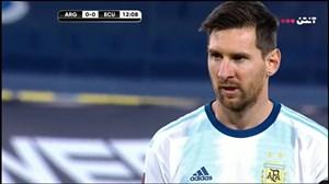 گل اول آرژانتین به اکوادور توسط لیونل مسی