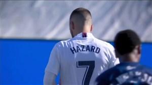 گل اول رئال مادرید به اوئسکا با سوپرگل هازارد
