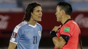 اخراج ادینسون کاوانی در بازی مقابل برزیل(عکس)