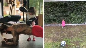 ورزش در خانه ستارگان فوتبال با فرزندانشان