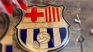 طراحی جذاب از لوگو بارسلونا با استفاده از چوب