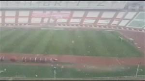 برف سنگین در استادیوم یادگار تبریز