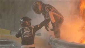 انفجار ماشین و فرار معجزه آسای گروژان در فرمول یک بحرین