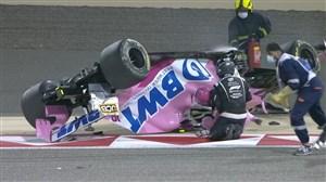چپ شدن ماشین لنس استرول در دور دوم مسابقه
