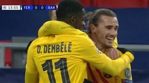گل اول بارسلونا به فرانس واروش با ضربه زیبای گریزمان