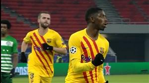 گل سوم بارسلونا به فرانس واروش توسط دمبله