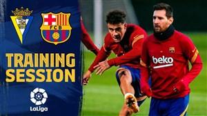 تمرینات بازیکنان بارسلونا قبل ار دیدار با کادیز