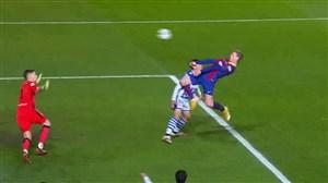 گل اول بارسلونا به سوسیداد با ضربه سر دییونگ