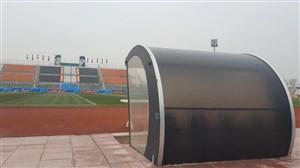 بارش باران شدید در ورزشگاه شهرقدس