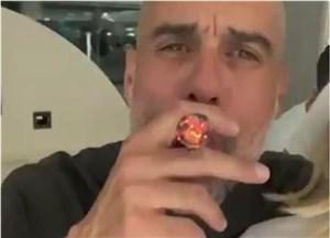 تصاویر سرخوشترین گواردیولای سال با سیگار برگ بزرگش